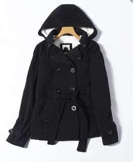 Black winter coat with belt (TB1182)