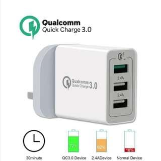 🚚 Qualcomm Quick Charge 3.0 QC 3-Port USB Wall Fast Charger