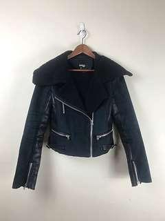 Borg Lined Transeasonal Jacket with Vinyl Panels