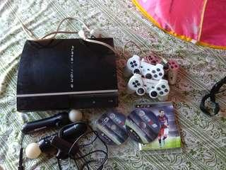 PlayStation 3 ps3- ylod error with accessories power cable + 2 fifa 16 titles+ 3 consoles + 2 move + camera