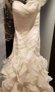 Designer-inspired layered wedding gown with train