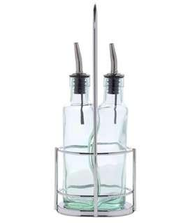 🚚 Glass Oil Vinegar Set with Silver Caddy
