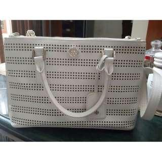 Tory Burch Robinson Double Zip Tote Perforated