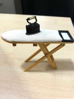 Miniature dollhouse Iron and iron board