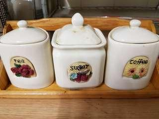 Ceramic 3in1 set containers for coffee/tea/sugar