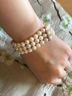 日本珍珠鑽石14k 金手鏈 pearl diamond bracelet