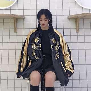 ✨ golden dragon embroidered black bomber jacket