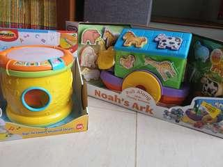 New Toy Electronic Drum and Noah's Ark Animal Boat