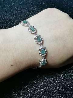 緬甸翡翠淺籃綠色女手鏈