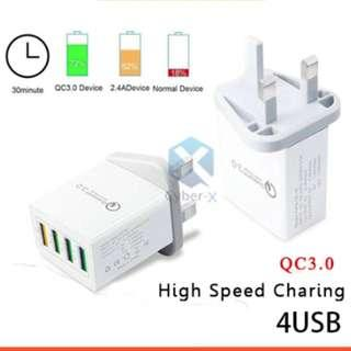 🚚 Qualcomm 4 Ports USB Quick Charge 3.0 Wall Charger