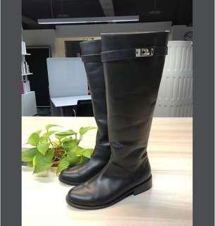 全新 正韓黑色真皮套筒長靴