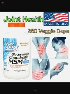 Doctor's Best Glucosamine Chondroitin MSM with OptiMSM (360 Veggie Caps)