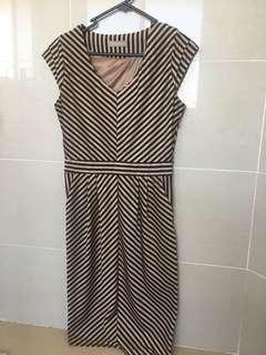 Forcast Gold and Black Striped Dress Size 8