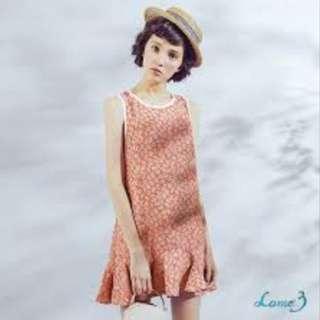 🚚 復古可愛 Lamo.3 雪紡連身魚尾碎花洋裝