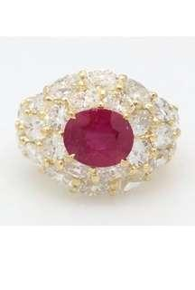 GIA CERTIFIED HEAT ONLY BURMESE RUBY RING (2.29 carats ruby) and 4.85 Carats VS DIAMOND
