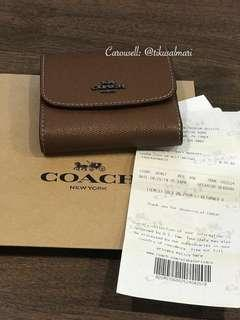 COACH Rainbow Stitch Small Wallet in Dark Saddle