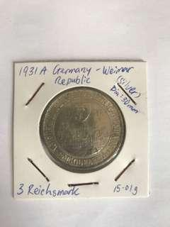 1931(A) Germany-Weimar Republic 3 Reichsmark Silver coin