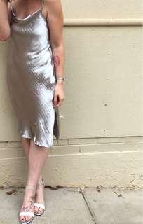 Silver mid satin dress