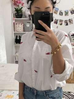 Mango embroidered white shirt