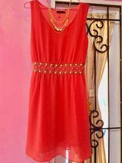 No sleeves dress Cavalier orange