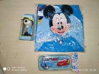 jas hujan anak dan mini fan dan 1 set sendok garpu