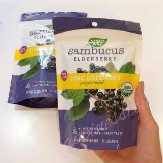 Nature's Way Sambucus Organic Lozenge, Elderberry Zinc, 24 Count 有機接骨木糖