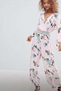 🚚 Miss Selfridge pink floral jumpsuit