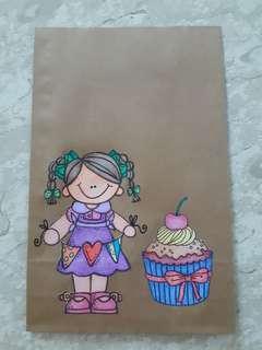 Handmade Paper Gift Bag-Girl with Galand