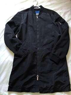 Zara men's long bomber jacket
