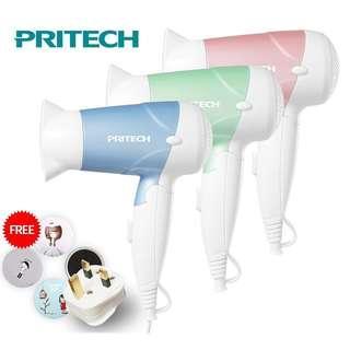 Pritech Hair Dryer Foldable 2 Speed Mini Travel Hair Dryer 1200W