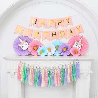 🚚 Happy Birthday  Banner / Happy Birthday Flags Celebration Garland