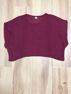 韓國製 棗紅色 短身 針職闊衫
