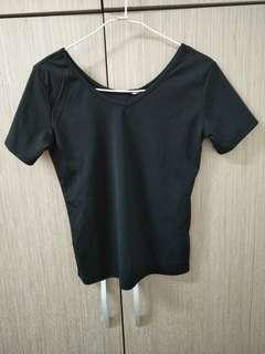 🚚 黑色短袖上衣素T