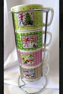 🚚 Cute espresso mug set (4 cups) with caddy