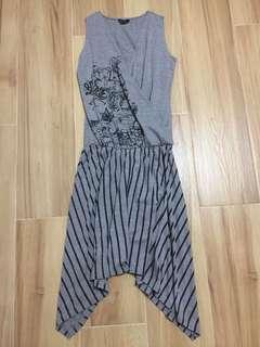 灰色V領圖案及直間背心裙