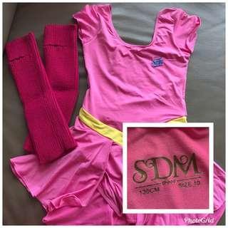 SDM粉紅色連身舞衣及襪筒 Size 10