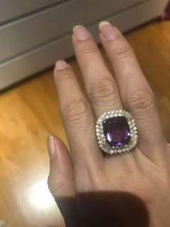 Ginormous purple amethyst ring with 2 carats of diamonds