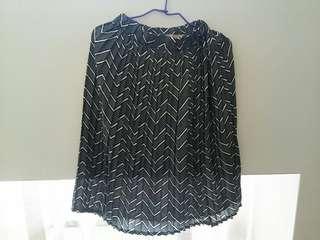 🚚 日系百摺幾合圖形波紋鬆緊長裙