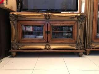 TV Cabinet ( Gold patina with wooden carvings)