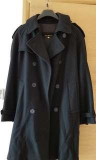 Vintage Menswear Wool Navy Black Trench Coat 90s 古著黑色海軍褸 外套