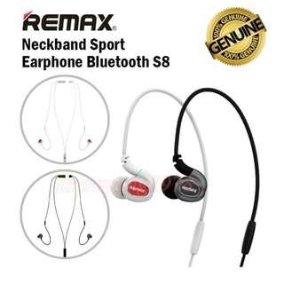 ★Original★ Remax Neckband Sport Earphone Headset Earpierce Bluetooth RB-S8 for Phones Samsung Android iPhone