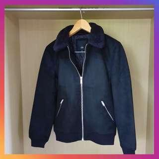 River Island Black Faux Sueded Borg Collar Jacket size S
