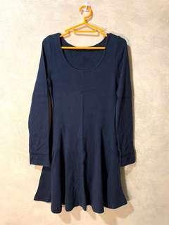深藍色 長袖連身裙