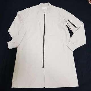 YSK正韓 長版外套 質感佳 牛奶乳白 2 約XL $699