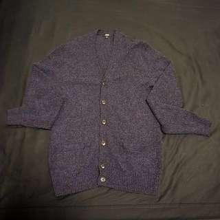 Uniqlo 開襟外套 厚款 保暖 深寶藍 M$199