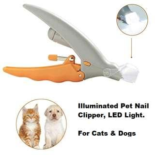 [In Stock]  Illuminated Pet Nail Clipper for Dogs and Cats Grooming Care, 5X Magnifying effect, Safe pet nail scissor, with LED Light