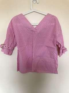 Cute pink stripe shirt top with gold tone buckle