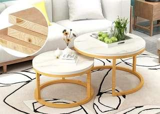 Round coffee table set tampered glass
