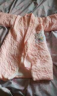女寶厚棉包巾浴袍,送連身衣