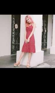 *MFW Label* Lexa Eyelet Midi Dress in Rosewood